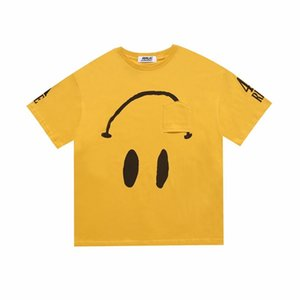 2020 Ins Hot American Unisex o mais rápido possível colaboração ROCKY reverso Sorriso shirt da cara T do bolso skate Mens t Mulheres rua camisetas Casual