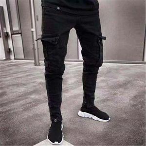 2018 männer denim schwarze jeans dünne gestreifte jeans hip hop dünne bleistift hose für männliche high street patchwork stretch männliche hose