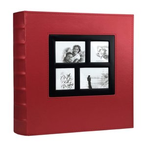 Photo Holds 4X6 400 Photos Pages Large Capacity Leather Cover Binder Wedding Family Baby Photo (Red)