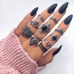 Слон ладони выдалбливают цветок кольца 10 шт устанавливает черный горный хрусталь сплава кольца для женщин партия ювелирных изделий