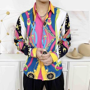 19SS Markendesign dünne Kleidung Sitzmann barocke Galaxie goldene Drachen Blumendruck lange Hülse 3D-Designerhemden der Männer Medusa beiläufige Hemden