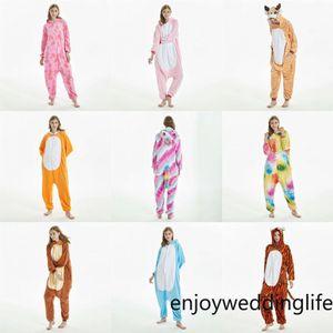 Las mujeres adultas franela pijama pijama de puntadas Bodies calientes Parejas de invierno pijamas Animal de dibujos animados de Cosplay del Anime mujer dormir MC3023-44