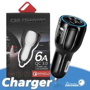 Для Samsung Galaxy S8 Iphone QC3. 0 быстрая зарядка 6A Qualcomm Quick Charge car charger Dual USB phone charger с розничной упаковкой