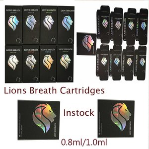 Lions Breath Cartridges Packaging Vape Pens E Cigarettes 510 Vapes Carts Round Press Tip Atomizer Instock 0.8ml1.0ml Ceramic Vaporizer Box