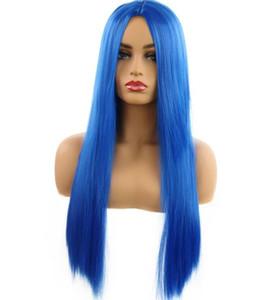 Saphirblaue WIG-Damenmode rasiert lange glatte Haare mitten im Herstellerverkauf