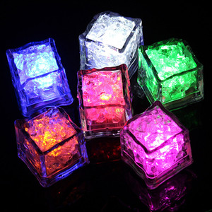 LED Glowing Light Up Ice Cubes Slow Flashing Color Changing Cup Light Without Switch Wedding Party Halloween Decoration