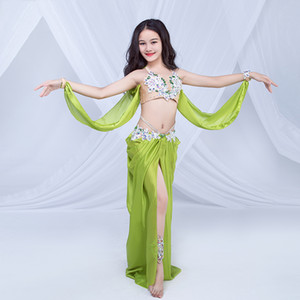 Yeni Çocuklar Rhinestone Boncuk Göbek Dans Kostümleri Çocuk Dans Show Giyim Sütyen + Uzun Etek Kızlar 3081 Performans Set Dancing