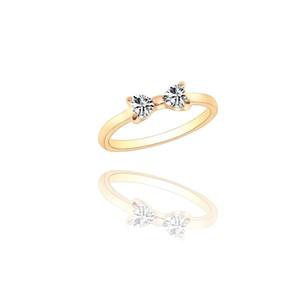 أزياء حلوة رومانسية السيدات حلقة شخصية الراين الذهب القوس الدائري تريند المعادن أنثى سحر الذيل مجوهرات هدية