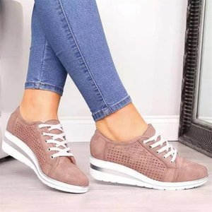 2020 Frauen Espadrilles Designer Schuhe Mesh-Breathable Trainer Lace-up Wohnungen Breathkeilabsatz Brown Low Cut Outdoor-Schuhe 5 Farben