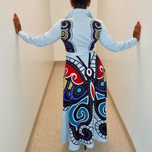 Mariposa impresa de las mujeres larga camisa de vestir de moda femenina floral diseñador ocasional vestido largo