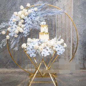 Nuevo estilo vendedor caliente arreglo de flores de metal de oro significa tabla de la boda decoración de la boda decoración de la etapa salón senyu0458