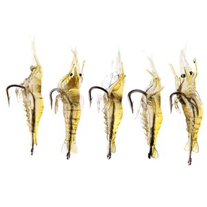 5pcs lot Soft Silicone Simulation Fishing Lure Shrimp Prawn Bait Artificial Bait With Swivel Yellow Fishy Smell Single Hook 4cm