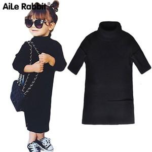 Aile Coniglio Winter Fashion INS Pop Girls Abito aperto Sezione vestito dal maglione lavorato a maglia dei bambini genitore-figlio Equipaggiamento caduta k1 T200624