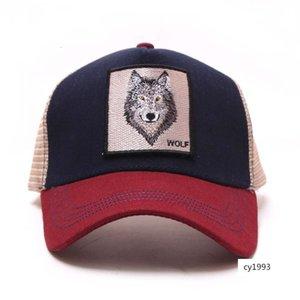 Tridimensionale cotone ricamato WOLF netta degli uomini il cappello di corrispondenza dei colori e cappello da sole del fumetto di estate WOLF bastone delle donne