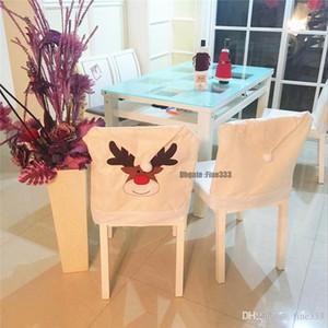 Nouvel An Père Noël housses de chaise salle à dîner avec le cerf Décor de Noël de la famille Chaise Elk couvre salle à manger couverture de chaise Accueil mariage