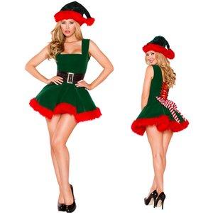 Xmas Fantasia de Natal Womens ajudante pequeno duende vestido Outfit Z786 da Elf Santa Costume