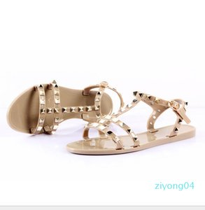 New 2018 Woman Summer Sandals Rivets big bowknot Flip Flops Beach Sandalias Femininas Jelly Designers Sandals z04