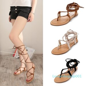 Pop2019 Toe Flat Bottom Really Leather Crossing Bandage Level With Rome Woman Will Sandals Beach Shoes