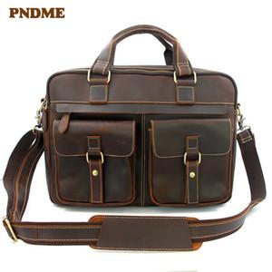 Semplice lavoro da uomo Cartella valigetta Business in pelle di alta qualità PNDME PNDME Laptop Messenger Genuine Shoulder Borse Aukqq