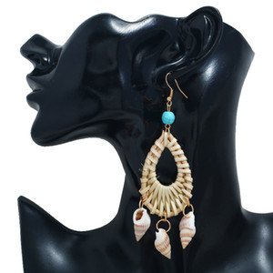 New Style Hand-Woven Natural Bamboo Weaving Earrings Western Style Turquoise Conch Pendant Ear Stud Women's