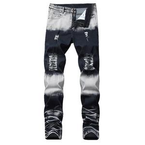 2019 Nueva Marca recta hombres pantalones vaqueros rasgados pantalones de la manera del diseño de marca de mezclilla pantalones retro atractivo del agujero de la personalidad jeans rotos