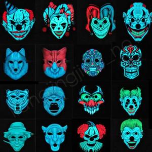 Máscara New LED de incandescência Sound Control Som ativado dança Luz Tema Máscara Partido Cosplay animal Clown (sem bateria) HHA409