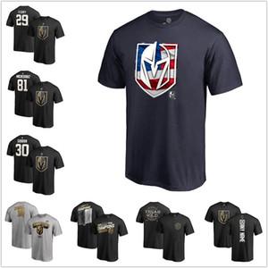 T-shirt da uomo con cavalieri d'oro a forma di stella T-shirt con bandiera di Mark Stone. T-shirt da uomo con maglie hockey grigio scuro