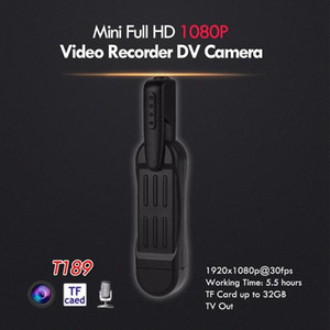 Full HD Mini DV Bolsle Body Cámara con clip Mini Pen Cámara Video Recorder Policía Cámara Mini Videocámara TV Out Black T189 Dropshipping