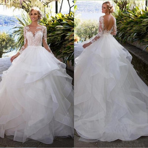 Layers Ruffle Skirts Backless Plus Size Wedding Dresses 2019 Illusion Long Sleeves Appliques A Line Bridal Wedding Gowns Arabic Vintage