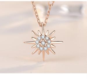 Новый стерлингового серебра 925 пробы Солнце и Луна Звезда ожерелья цепь пара небесных лучших друзей подарок для друзей длинные ожерелья подвески Мужчины Женщины