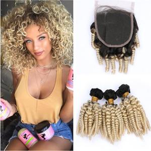 # 1B 613 Ombre brasilianischen Tantchen Funmi Menschliches Haar 3Bundles und Closure Ombre Blonde Funmi Curly Jungfrau-Haar-Spitze-Schliessen 4x4 mit Weave Bundles
