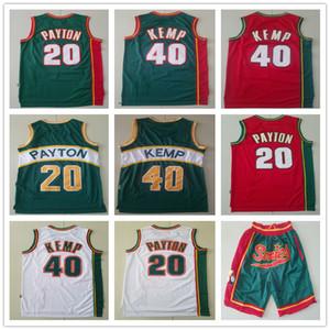 erkek SeattleSuperSonicsGerileme Gary 20 Payton Shawn 40 Kemp Basketbol Şort Basketbol Formalar beyaz Mavi kaliteli kırmızı