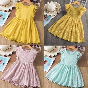 Marka Bebek Kız Dantel Nakış Elbise Çocuk Petal Tasarım Seleeveless doğum günü partisi Yaz Çocuk Gündelik Giyim Giyim Yetiştirilen