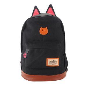 Mochila de lona Para Mujeres Niñas Satchel Mochilas escolares Mochila escolar Mochila de niños niños Oreja de gato de dibujos animados Mujeres Bolsas Negro