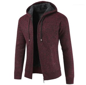 Thick Coats Autumn and Winter Long Sleeve Cardigan Mens Zipper Fly Sweatshirts Fashion Hooded Jacket For Men Causal
