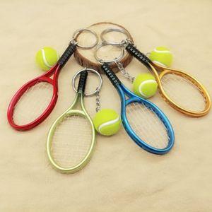 Raquete de tênis Keychain Esporte Simulação Criativa Mini Bola de Tênis Chaveiro Saco de Carro Pingente Chaveiro Acessórios Para Mulheres Homens LJJJ21