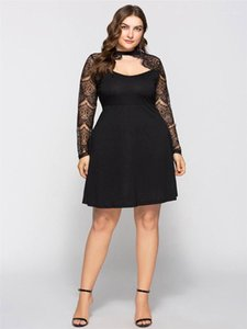 Casual Apparel 6XL Womens Summer Black Lace Dresses Crew Neck A Line Knee Length Female Clothing Fashion Plus Size