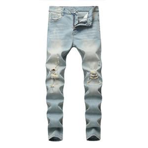 Großhandel 2020 Mode Waschen beiläufige hellblau Denim Distressed dünne Stretch-Cowboy Lokomotive Biker Hip-Hop-Straße Jeans Männer