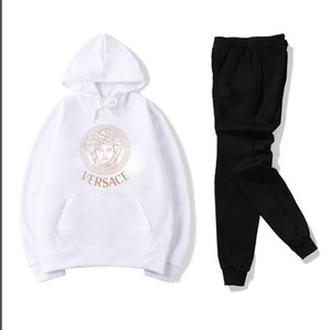 566 Erkek ve kadın moda bireysellik tasarımcısı Spor Casual İki parçalı Koşu markaVersace spor takım elbise, Boyut S-3XL