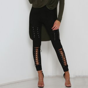 Autumn Sexy Women Lace Up Faux Suede Stretch Bodycon Pencil Pants Hollow Out Winter Female High Waist Bandage Pants