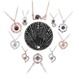 100 Sprachen, die ich Ihnen Projection Halskette 17 Styles Romantic Love Memory Hochzeit hängende Halskette Partei-Bevorzugung Liebe LJJO7567