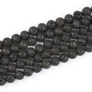 Black Lava Stone Beads Natural Stone Volcanic Round Loose Beads Fit for Bracelet Bangle DIY Jewelry Making Charms Accessories 45beads lot