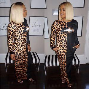 Leopardo com painéis mulheres vestidos Lábios Imprimir Vestidos de Festa Mulheres Moda Night Club Sexy Magro Manga comprida gola lápis Vestidos