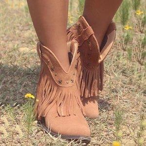 As mulheres agradáveis Outono Shorts Botas Sapato de bico fino Low Heel Side Zipper Fringe Moda Tassel tornozelo Sapatinho Partido Shoes Vestido