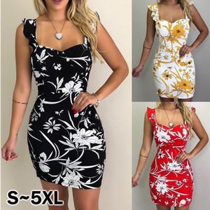 Nouveautés Womens Designer Robes moulantes Backless sans manches à imprimé floral Sling Slim Skinny Jupe Sexy Mini Robes Femme Vêtements