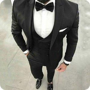Новейшие Дизайны Черные Мужские Костюмы Деловой Жених Свадебные Смокинги Повседневная Мужская Куртка 3 Шт Пик Отворот Slim Fit Жених Блейзер Костюм Homme