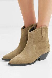 Frauen-echtes Leder New Isabel Dewina Suede Ankle Boots Fashion Pop Marant Cowboy-Stiefel Western-Art-Schuhe