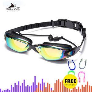 المهنية نظارات السباحة السباحة نظارات مع سدادات كليب الأنف بالكهرباء adluts سيليكون مقاوم للماء