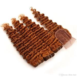 L # 30 Medium Auburn 3Bundles 4x4 cabelo indiano do Virgin Humano Lace fechamento frontal com texturas onda profunda Ondulado Medio Auburn Com 4pcs Encerramento