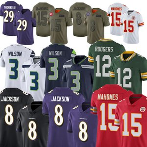 Men 15 Patrick Mahomes Jersey 12 Aaron Rodgers 8 Lamar Jackson Russell Wilson 29 Earl Thomas Football Jersey 15 Marquise Brown .